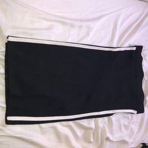 A midi black pencil skirt